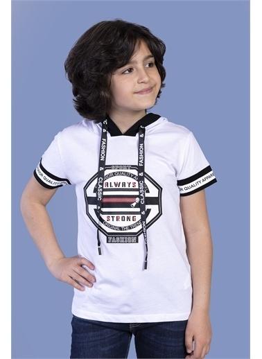Toontoy Kids Toontoy Erkek Çocuk Kapüşonlu Baskılı Tişört Beyaz
